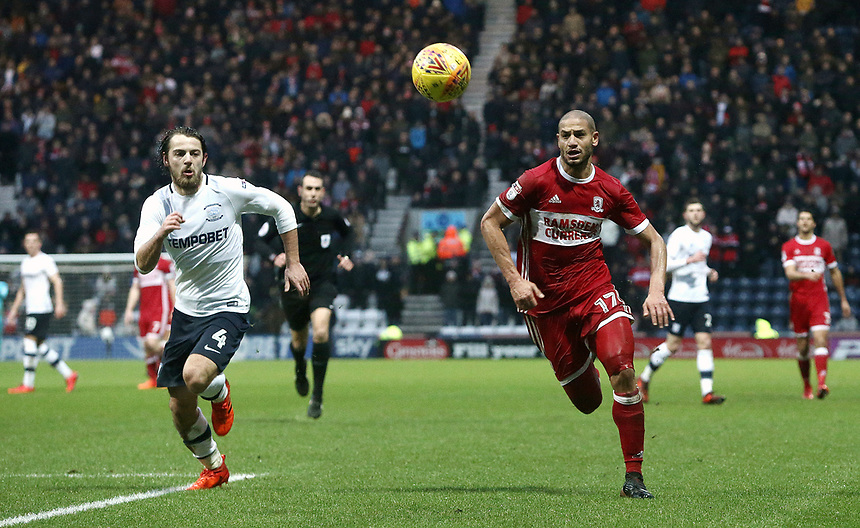 Preston North End's Ben Pearson chases with Middlesbrough's Adlene Guedioura<br /> <br /> Photographer Rich Linley/CameraSport<br /> <br /> The EFL Sky Bet Championship - Preston North End v Middlesbrough - Monday 1st January 2018 - Deepdale Stadium - Preston<br /> <br /> World Copyright &copy; 2018 CameraSport. All rights reserved. 43 Linden Ave. Countesthorpe. Leicester. England. LE8 5PG - Tel: +44 (0) 116 277 4147 - admin@camerasport.com - www.camerasport.com