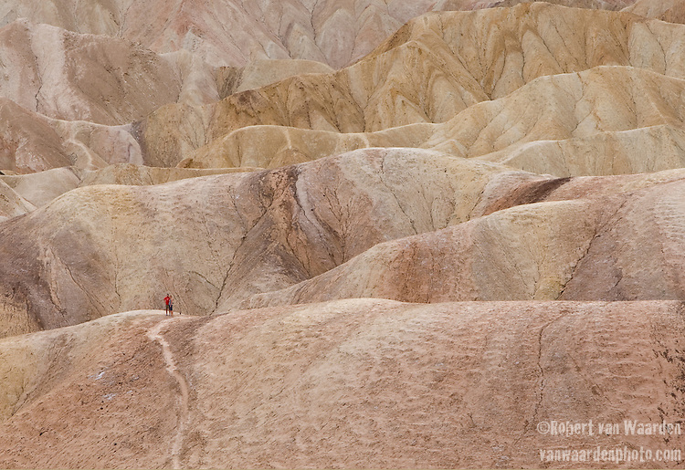 Hikers wander the hills near Zabrieskie Point in Death Valley