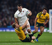 Nick Easter of England is tackled by David Pocock of Australia. Rugby World Cup Pool A match between England and Australia on October 3, 2015 at Twickenham Stadium in London, England. Photo by: Patrick Khachfe / Onside Images