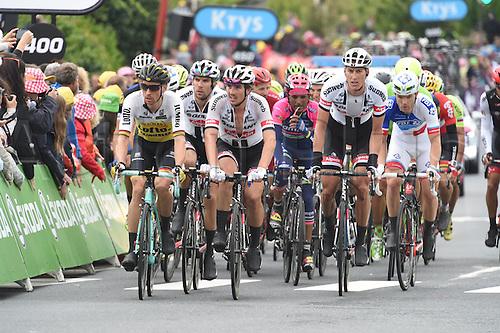 03.07.2016. Normandy, France. Tour de France Stage 2 from Saint-Lo to Cherbourg en-Cotentin.  Giant-alpecin; 2016, Lotto Nl - Jumbo; Degenkolb, John; Sinkeldam, Ramon; Wagner, Robert; Cherbourg;