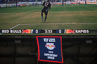 The New York Red Bulls Supporter's Shield banner hangs from the video board during the first half against the Colorado Rapids. The New York Red Bulls and the Colorado Rapids played to a 1-1 tie during a Major League Soccer (MLS) match at Red Bull Arena in Harrison, NJ, on March 15, 2014.