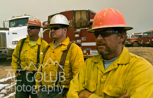 Greeley Hill, California-- July 30, 2008-Telegraph Fire-Wildfires Threaten Yosemite National Park.Faller wait for assignment on Division L.  Division L is on the leading edge of the fire and is threatening Greeley Hill..Photo by Al GOLUB/Golub Photography