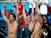 Roma 2nd August 2009 - 13th Fina World Championships .From 17th to 2nd August 2009.Men's 4x100 Medley Relay.USA team, Gold Medal.Aaron PEIRSOL, Eric SHANTEAU, Michael PHELPS, David WALTERS.Roma2009.com/InsideFoto/SeaSee.com . .Foto Andrea Staccioli Insidefoto