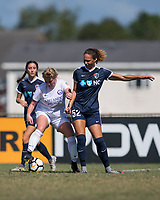 Sanford, FL - Saturday Oct. 14, 2017:  A Pride player protects the ball by turning away from pressure during a US Soccer Girls' Development Academy match between Orlando Pride and NC Courage at Seminole Soccer Complex. The Courage defeated the Pride 3-1.