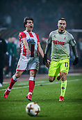 7th December 2017, Rajko Mitic Stadium, Belgrade, Serbia, UEFA Europa League football, Red Star Belgrade versus FC Cologne; Defender Filip Stojkovic of Red Star Belgrade reacts after losing the ball in a tackle with Midfielder Christian Clemens of FC Koeln
