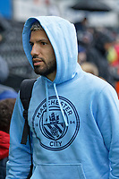 Sergio Aguero of Manchester City arrives prior to the game during the English Emirates FA Cup soccer match between Swansea City and Manchester City at the Liberty Stadium, Swansea, Wales, Britain, 16 March 2019. EPA/DIMITRIS LEGAKIS <br /> EDITORIAL USE ONLY. No use with unauthorized audio, video, data, fixture lists, club/league logos or 'live' services. Online in-match use limited to 75 images, no video emulation. No use in betting, games or single club/league/player publications