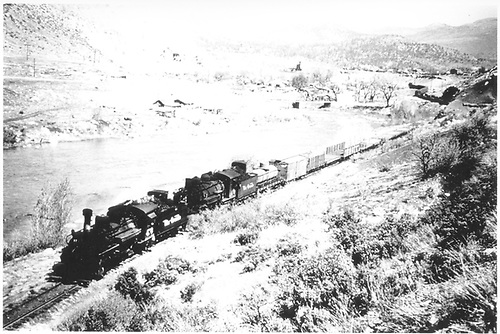 D&amp;RGW #473 leads double-headed freight leaving Durango southbound.<br /> D&amp;RGW  Durango, CO