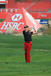 Ian Poulter taking his second shot onto the first green on day one of the Abu Dhabi HSBC Golf Championship 2011, at the Abu Dhabi golf club 20/1/11..Picture Fran Caffrey/www.golffile.ie.