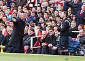 Arsenal  v Manchester United 28.4.2013.Sir Alex Ferguson gives 4th official the hairdryer treatment after he did not give a foul on Nani.Pic by Gavin Rodgers/Pixel 8000 Ltd