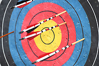 NWA Democrat-Gazette/J.T. WAMPLER  Arrows protrude from a target Sunday March 25, 2018 during archery instruction at the Fayetteville Goddess Festival.