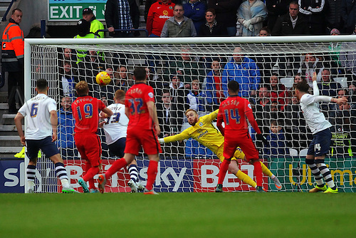 21.11.2015. Deepdale, Preston, England. Skybet Championship. Preston North End versus Blackburn. Keeper Jason Steele of Blackburn Rovers makes the save as the ball head towards goal