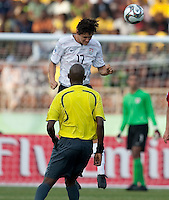 William Packwood heads the ball. US Under-17 Men's National Team defeated United Arab Emirates 1-0 at Gateway International  Stadium in Ijebu-Ode, Nigeria on November 1, 2009.