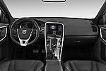Stock photo of straight dashboard view of 2017 Volvo XC60 R-Design 5 Door SUV Dashboard