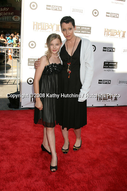 """Chloe Grace Moretz  & Lori Petty arriving at the Premiere of  """"Hellboy 2"""" at the Village Theater in Westwood, CA on.June 28, 2008.©2008 Kathy Hutchins / Hutchins Photo ."""