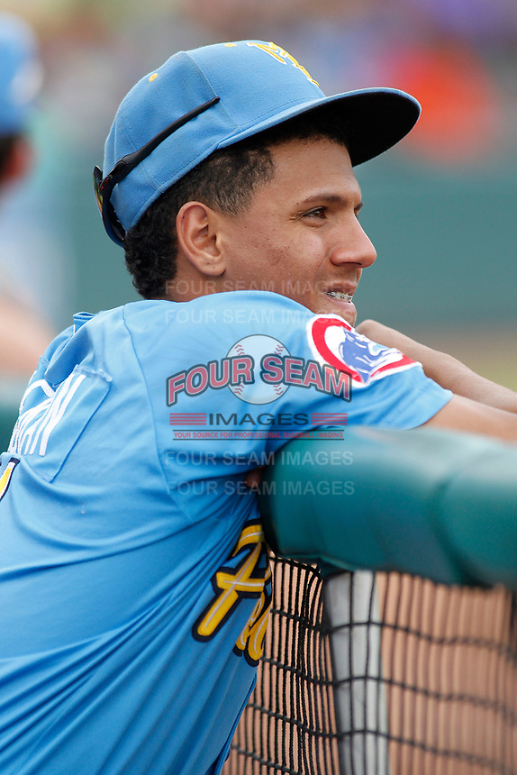 Myrtle Beach Pelicans shortstop Aramis Ademan (11) in the dugout during a game against the Winston-Salem Dash at Ticketreturn.com Field at Pelicans Ballpark on July 23, 2018 in Myrtle Beach, South Carolina. Winston-Salem defeated Myrtle Beach 6-1. (Robert Gurganus/Four Seam Images)