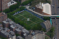 aerial photograph the Asphalt Green Upper East Side campus during soccer practice  at East 90th St, Manhattan, New York City; FDR Drive is to the right