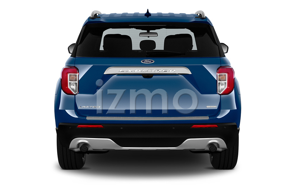 Straight rear view of 2020 Ford Explorer Limited 5 Door SUV Rear View  stock images