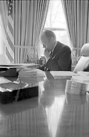 President Gerald R. Ford in the Oval Office.   25 March 1975