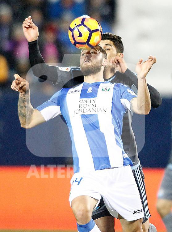 CD Leganes' David Timor (f) and Celta de Vigo's Pedro Pablo Hernandez during La Liga match. January 28,2017. (ALTERPHOTOS/Acero)