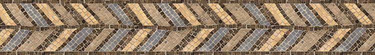 """6"""" Frond Pheasant border, a hand-chopped stone mosaic, shown in tumbled Renaissance Bronze, Emperador Dark, Bardiglio, and Jerusalem Gold, is part of the Metamorphosis Collection by New Ravenna."""