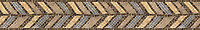 "6"" Frond Pheasant border, a hand-chopped stone mosaic, shown in tumbled Renaissance Bronze, Emperador Dark, Bardiglio, and Jerusalem Gold, is part of the Metamorphosis Collection by Sara Baldwin for New Ravenna Mosaics."