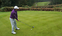 Graeme McDowell of Northern Ireland prepares to tee off during a Pro-Am round ahead of the 2015 British Masters at the Marquess Course, Woburn, in Bedfordshire, England on 7/10/15.<br /> Picture: Richard Martin-Roberts   Golffile