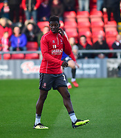 Lincoln City's Bernard Mensah during the pre-match warm-up<br /> <br /> Photographer Andrew Vaughan/CameraSport<br /> <br /> The EFL Sky Bet League Two - Crewe Alexandra v Lincoln City - Wednesday 26th December 2018 - Alexandra Stadium - Crewe<br /> <br /> World Copyright &copy; 2018 CameraSport. All rights reserved. 43 Linden Ave. Countesthorpe. Leicester. England. LE8 5PG - Tel: +44 (0) 116 277 4147 - admin@camerasport.com - www.camerasport.com