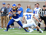 BROOKINGS, SD - SEPTEMBER 10:  Connor Landberg	 #18 from South Dakota State makes a move against Connor Willis #37 from Drake during their game at the Dana J. Dykhouse Stadium Saturday night in Brookings. (Photo by Dave Eggen/Inertia)