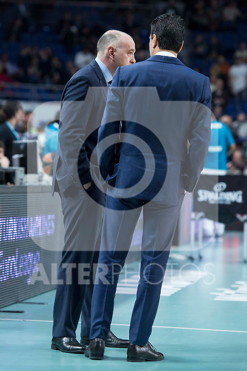 Real Madrid coach Pablo Laso and Olympiacos Piraeus coach Ioannis Sfairopoulos during Turkish Airlines Euroleague match between Real Madrid and Olympiacos Piraeus at Wizink Center in Madrid , Spain. February 09, 2018. (ALTERPHOTOS/Borja B.Hojas)