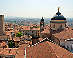 View of the rooftops from the Campanone bell tower in Bergamo, Italy