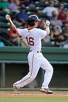 Outfielder Cody Koback (16) of the Greenville Drive bats in a game against the Charleston RiverDogs on Wednesday, June 12, 2013, at Fluor Field at the West End in Greenville, South Carolina. Charleston won, 10-5. The teams wore their Boston and New York affiliate uniforms as part of a promotion. (Tom Priddy/Four Seam Images)