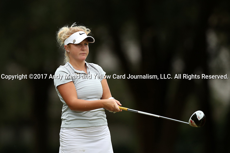 WILMINGTON, NC - OCTOBER 28: UCF's Anna Hack on the 12th tee. The second round of the Landfall Tradition Women's Golf Tournament was held on October 28, 2017 at the Pete Dye Course at the Country Club of Landfall in Wilmington, NC.