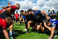 Nathan Catt of Bath Rugby looks to scrummage against his opposite number from the Dragons. Bath Rugby pre-season training on August 8, 2018 at Farleigh House in Bath, England. Photo by: Patrick Khachfe / Onside Images