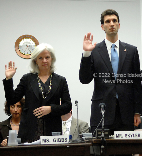 Washington, D.C. - February 28, 2007 -- From left to right: Linda I. Gibbs, Deputy Mayor for Health and Human Services, City of New York; and Edward Skyler, Deputy Mayor for Administration, City of New York are sworn-in before giving testimony before the United States House of Representatives Committee on Oversight and Government Reform Subcommittee on Government Management, Organization, and Procurement hearing on health effects and federal monitoring and treatment of residents and responders in New York City in Washington, D.C. on Wednesday, February 28, 2007..Credit: Ron Sachs/CNP