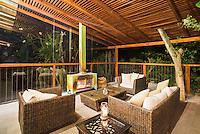 Hacienda Piman Garden Hotel outdoor sitting area with fire, accommodation near Ibarra, Ecuador, South America