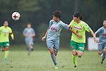 (L to R) <br /> Mina Tanaka (Beleza), <br /> Ayaka Nishikawa (JEF Ladies), <br /> SEPTEMBER 17, 2017 - Football / Soccer : <br /> 2017 Plenus Nadeshiko League Division 1 match <br /> between JEF United Ichihara Chiba Ladies 0-1 NTV Beleza <br /> at Frontier Soccer Field in Chiba, Japan. <br /> (Photo by AFLO SPORT)