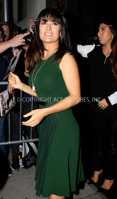 WWW.ACEPIXS.COM....October 11 2012, New York City....Actress Salma Hayek visited a TV show on October 11 2012 in New York City........By Line: Nancy Rivera/ACE Pictures......ACE Pictures, Inc...tel: 646 769 0430..Email: info@acepixs.com..www.acepixs.com