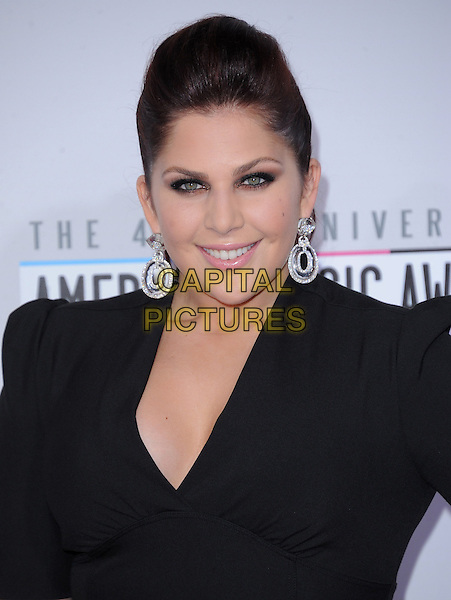 Lady Antebellum - Hillary Scott .40th Anniversary American Music Awards - Arrivals held at Nokia Theatre L.A. Live, Los Angeles, California, USA..November 18th, 2012.AMA AMAs headshot portrait black silver earrings.CAP/DVS.©DVS/Capital Pictures.