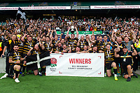 Ben Hilton of Cornwall lifts the County Championship Cup as his team celebrate. Bill Beaumont County Championship Division 1 Final between Cheshire and Cornwall on June 2, 2019 at Twickenham Stadium in London, England. Photo by: Patrick Khachfe / Onside Images