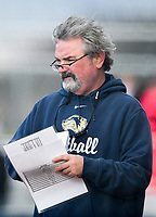 NWA Democrat-Gazette/CHARLIE KAIJO Bentonville West High School head coach Anthony Cantrell watches his players during a softball game, Thursday, March 13, 2019 at Bentonville West High School in Centerton.