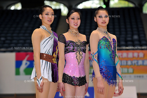 (L to R) Riko Anakubo , Runa Yamaguchi , Hiromi Nakatsu ,APRIL 10, 2011 - Rhythmic Gymnastics :The 31st World Rhythmic Gymnastics, The 26th Summer Universiade selection, and The 5th Asian Championship representative decision at 1nd Yoyogi Gymnasium, Tokyo, Japan. (Photo by Jun Tsukida/AFLO SPORT) [0003]