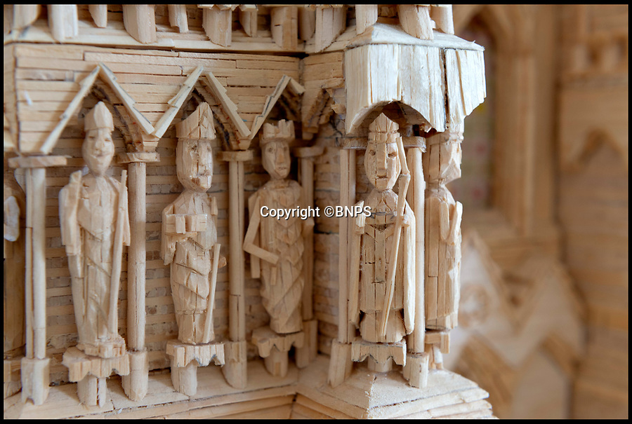 BNPS.,co.uk (01202 558833)<br /> Pic:   RogerArbon/BNPS<br /> <br /> Close ups of the impressive model.<br /> <br /> Single-again Barry King has completed his stunning matchstick model of the front of Salisbury Cathedral - thanks to an old flame.<br /> <br /> Barry began the painstaking project in 2012 but downed tools when he become distracted by a long-term relationship.<br /> <br /> But after the couple split up last year, Barry resumed his hobby and completed the replica of the West Front of the Wiltshire cathedral using 730,000 matches.<br /> <br /> The stunning model will go on public display in Salisbury from August 19.
