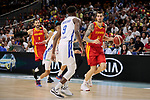 Juancho Hernangomez of Spain and Dominican Juan Miguel Suero of Dominican Republic during the Friendly match between Spain and Dominican Republic at WiZink Center in Madrid, Spain. August 22, 2019. (ALTERPHOTOS/A. Perez Meca)