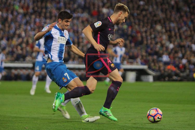 League Santander 2016/2017. Game: 35.<br /> RCD Espanyol vs FC Barcelona: 0-3.<br /> Gerard Moreno vs Ivan Rakitic.