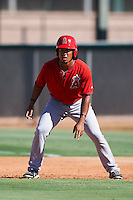 Los Angeles Angels of Anaheim Jahmai Jones (22) during an Instructional League game against the Colorado Rockies on October 6, 2016 at the Tempe Diablo Stadium Complex in Tempe, Arizona.  (Mike Janes/Four Seam Images)