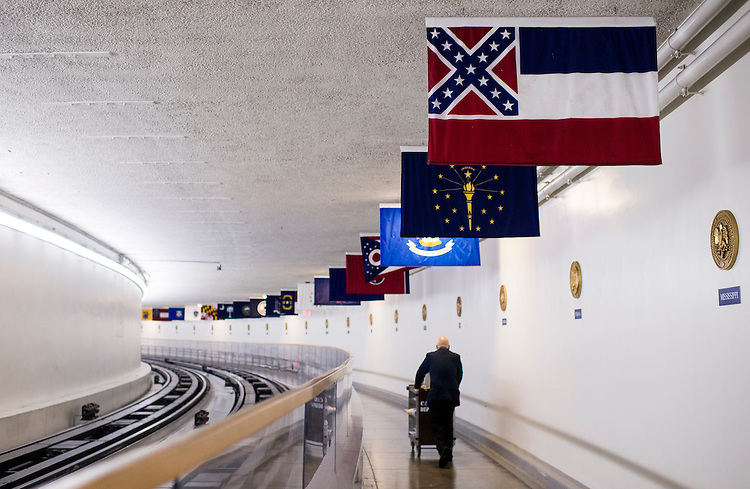 UNITED STATES - JUNE 22: As South Carolina struggles with the issue of the Confederate battle flag flying at their state capitol, the battle flag, as part of Mississippi's state flag, hangs in the U.S. Capitol along the Senate subway. (Photo By Bill Clark/CQ Roll Call)