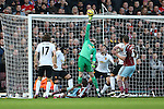 West Ham's Enner Valencia sees his shot saved by Manchester United's David De Gea<br /> <br /> Barclays Premier League- West Ham United vs Manchester United  - Upton Park - England - 8th February 2015 - Picture David Klein/Sportimage