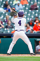 Connor Castellano #4 of the Texas Christian Horned Frogs at bat against the Sam Houston State Bearkats at Minute Maid Park on February 28, 2014 in Houston, Texas.  The Bearkats defeated the Horned Frogs 9-4.  (Brian Westerholt/Four Seam Images)