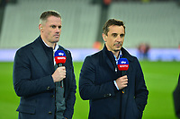 Sky Pundit Gary Neville and Jamie Carragher during West Ham United vs Fulham, Premier League Football at The London Stadium on 22nd February 2019