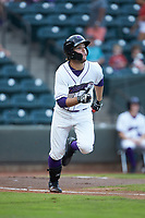 Luis Gonzalez (8) of the Winston-Salem Dash hustles down the first base line against the Myrtle Beach Pelicans at BB&T Ballpark on August 6, 2018 in Winston-Salem, North Carolina. The Dash defeated the Pelicans 6-3. (Brian Westerholt/Four Seam Images)